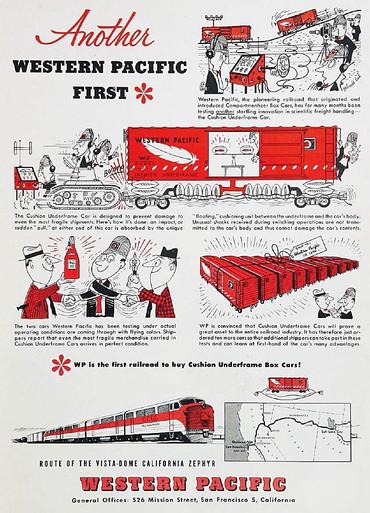 Trains1953 Dec p3 Western Pacific Railroad cushion underframe